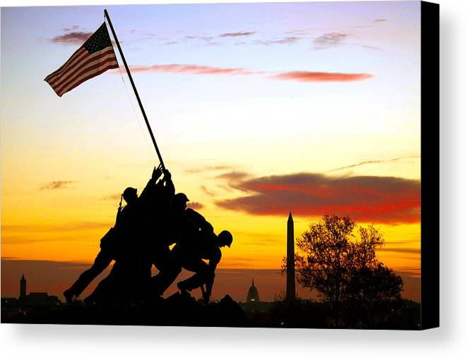 Marine Corps Memorial Canvas Print featuring the photograph Inspiration by Mitch Cat
