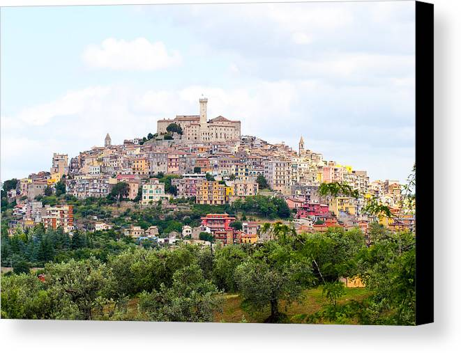 Italy Canvas Print featuring the photograph Italian Village From Afar by Christina Kozlowski