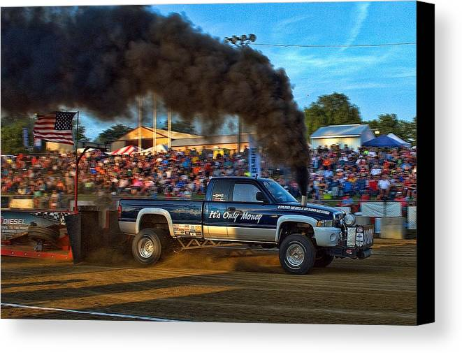 Its Only Money Canvas Print featuring the photograph Its Only Money Pulling Truck by Tim McCullough
