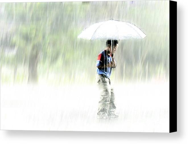 Children Canvas Print featuring the photograph It's Raining Outside by Heiko Koehrer-Wagner