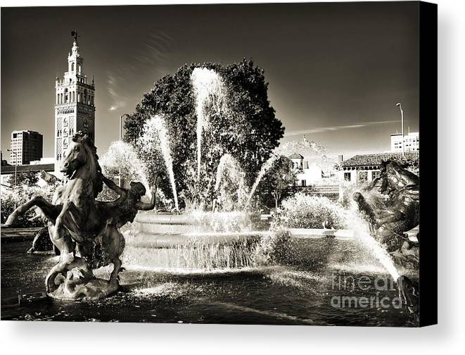 Kansas City Canvas Print featuring the photograph Jc Nichols Memorial Fountain Bw 1 by Andee Design