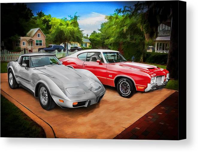 Corvette Canvas Print featuring the photograph Jeffs Cars Corvette And 442 Olds by Rich Franco