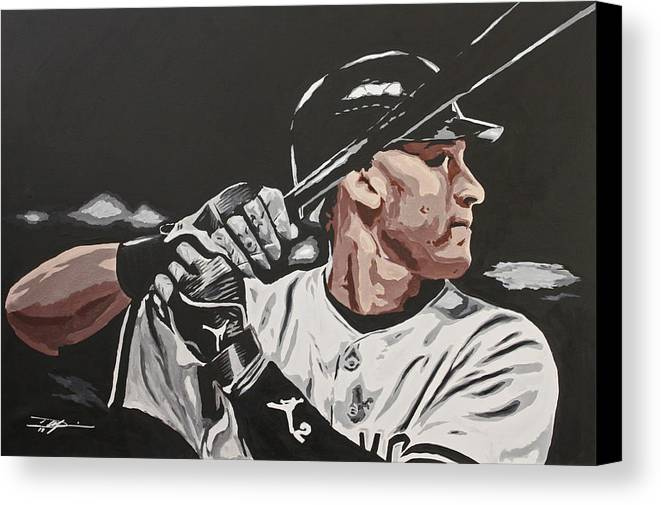 Jeter Canvas Print featuring the drawing Jeter by Don Medina