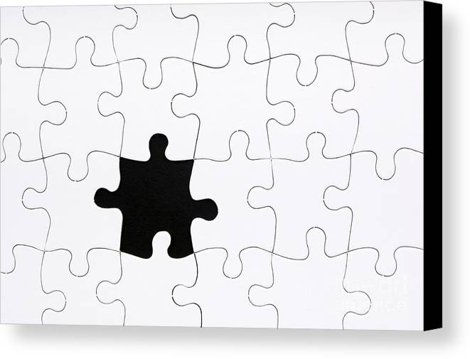 Abstract Canvas Print Featuring The Photograph Jigsaw Puzzle Missing Piece By Tim Hester