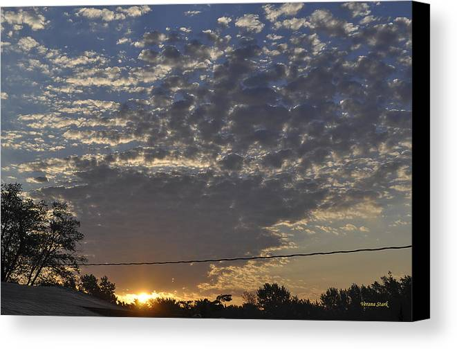 Sunrise Canvas Print featuring the photograph June Sunrise From The Series The Imprint Of Man In Nature by Verana Stark