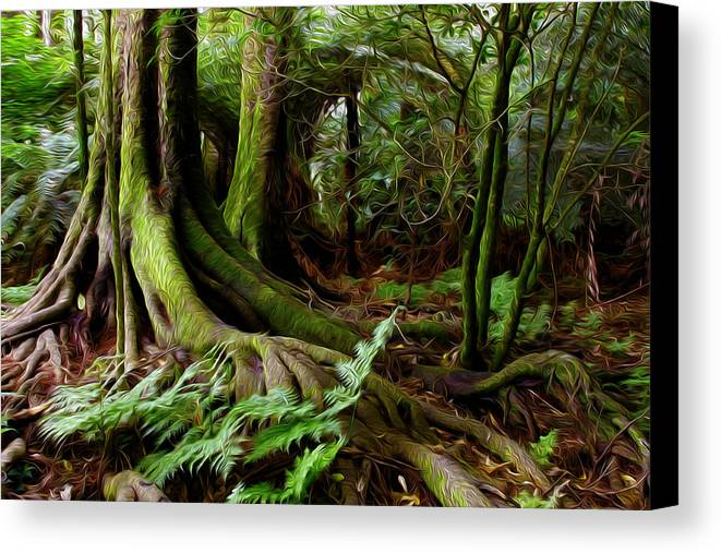 Big Canvas Print featuring the digital art Jungle Trunks2 by Les Cunliffe
