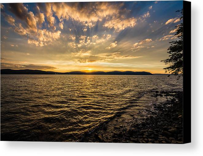 Black Brook Shop Canvas Print featuring the photograph Kingsland Point Park - Sunset Waves by Black Brook Photography