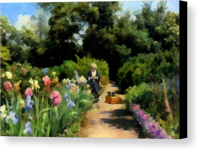 Knitting In The Garden Canvas Print featuring the digital art Knitting In The Garden by Peder Mork Monsted
