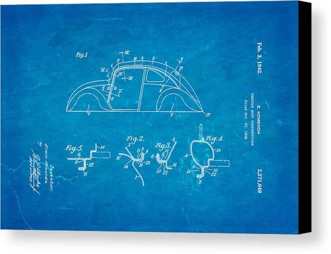 Automotive Canvas Print featuring the photograph Komenda Vw Beetle Body Design Patent Art 1942 Blueprint by Ian Monk