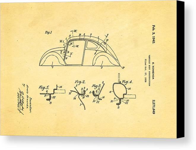 Automotive Canvas Print featuring the photograph Komenda Vw Beetle Body Design Patent Art 1942 by Ian Monk