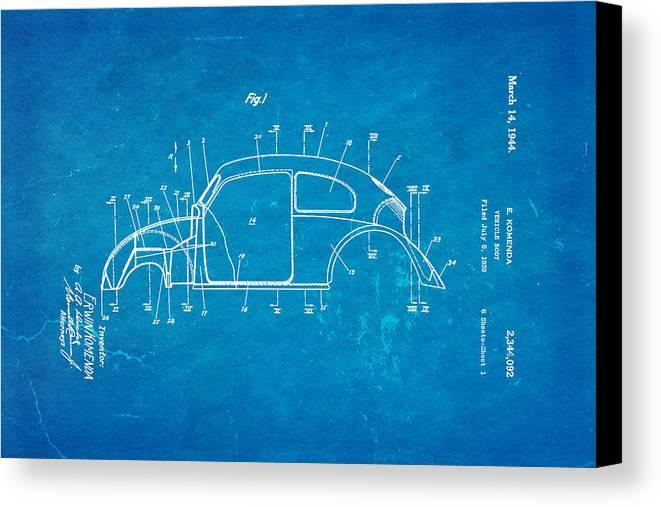 Automotive Canvas Print featuring the photograph Komenda Vw Beetle Body Design Patent Art 1944 Blueprint by Ian Monk