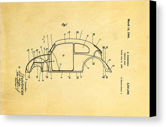 Automotive Canvas Print featuring the photograph Komenda Vw Beetle Body Design Patent Art 1944 by Ian Monk