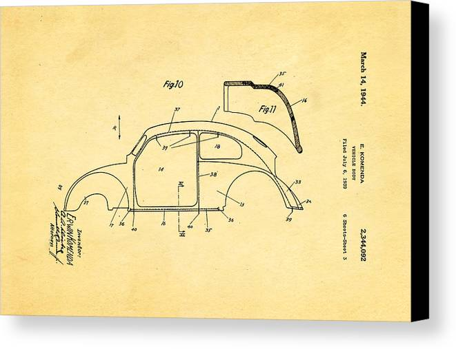 Automotive Canvas Print featuring the photograph Komenda Vw Beetle Body Design Patent Art 2 1944 by Ian Monk