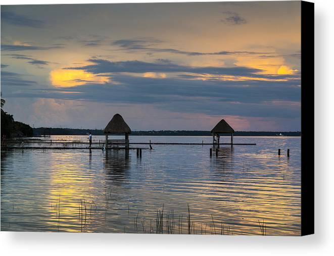 Lagoon Canvas Print featuring the photograph Lagoon At Sunset by Yuri Santin