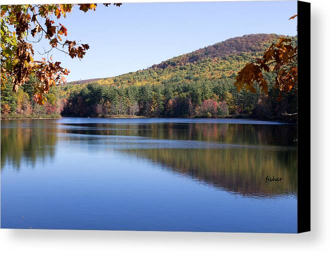 Landscape Canvas Print featuring the photograph Lake On Rural Road by Richard Fisher