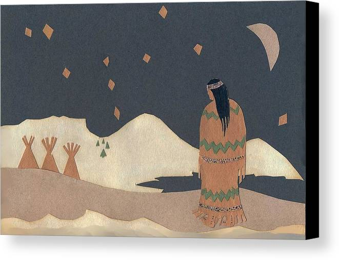 Christmas Card Canvas Print featuring the drawing Lakota Woman With Winter Constellations by Dawn Senior-Trask