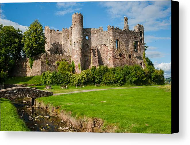 Carmarthenshire Canvas Print featuring the photograph Laugharne Castle by David Ross