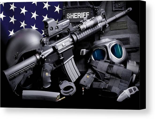 Law Enforcement Canvas Print featuring the photograph Law Enforcement Tactical Sheriff by Gary Yost