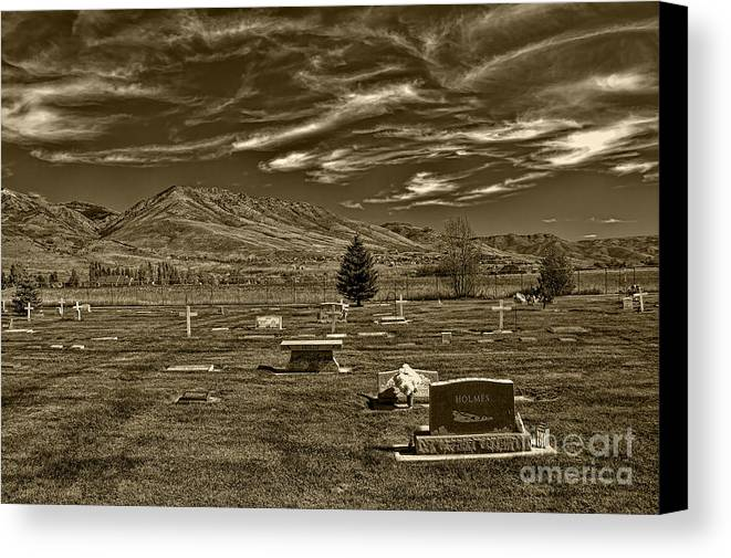 Liberty Cemetery I Sepia-toned Canvas Print featuring the photograph Liberty Cemetery I Sepia-toned by Brenton Cooper