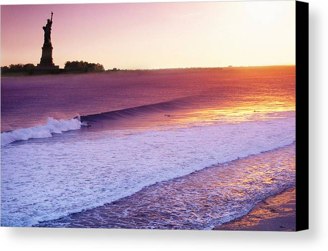 Surf In New York Canvas Print featuring the photograph Liberty Surf by Sean Davey