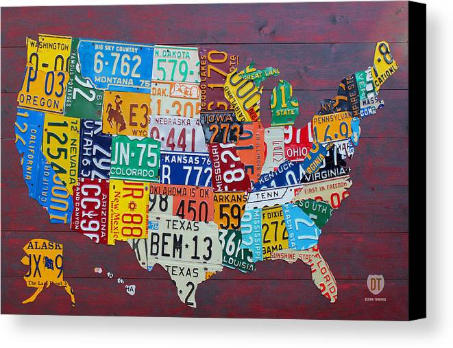 License Plate Map Of The United States Canvas Print Canvas Art - Us map canvas