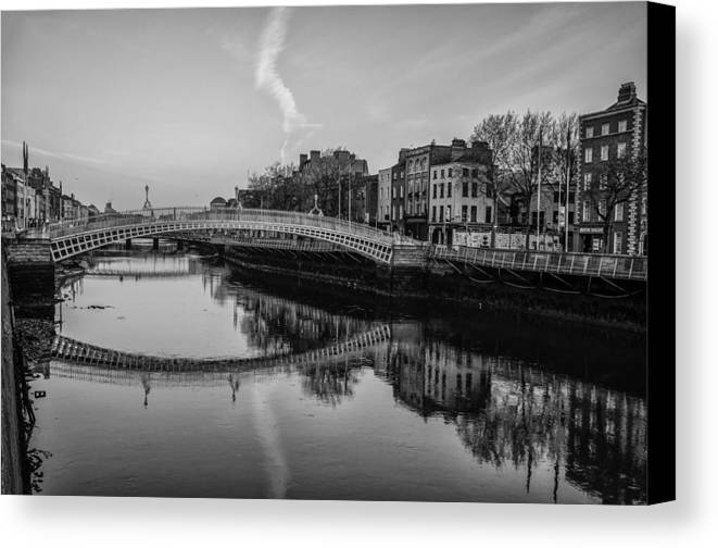 Liffey canvas print featuring the photograph liffey river dublin ireland in black and white by bill