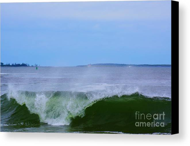 Maine Canvas Print featuring the photograph Lighthouse Through Wave by Kyle Neugebauer