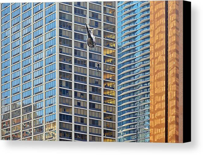 Il Canvas Print featuring the photograph Lights - Camera - Action - Movie Backdrop Chicago by Christine Till