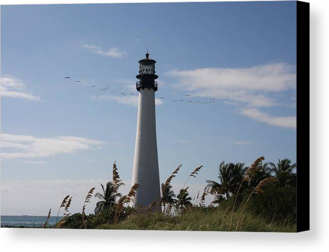 Ligthouse Canvas Print featuring the photograph Ligthouse - Key Biscayne by Christiane Schulze Art And Photography