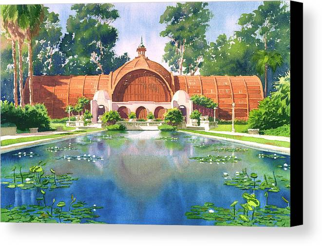 San Diego Canvas Print featuring the painting Lily Pond And Botanical Garden by Mary Helmreich