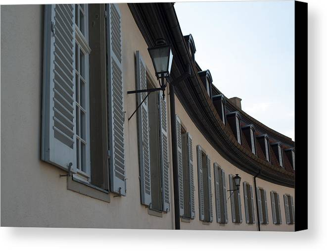 Architecture Canvas Print featuring the photograph Line Of Shuttered Windows by Frank Gaertner