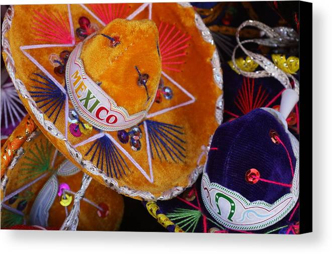 Mexico Canvas Print featuring the photograph Little Sombreros by Lee Vanderwalker
