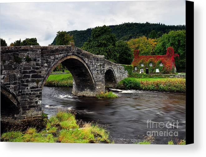 Snowdonia Canvas Print featuring the photograph Llanwrst by Rachel Slater
