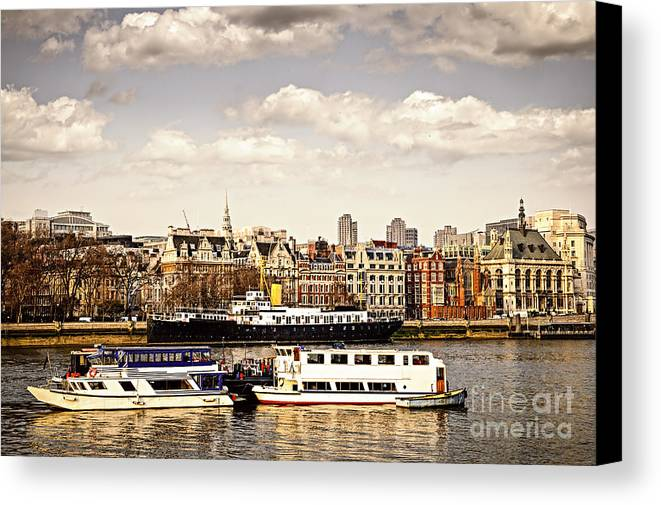 London Canvas Print featuring the photograph London From Thames River by Elena Elisseeva