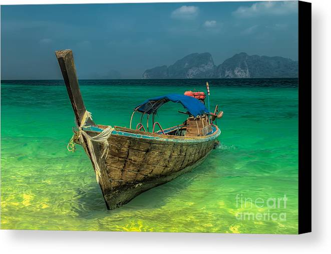 Asia Canvas Print featuring the photograph Longboat by Adrian Evans