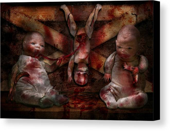 Halloween Canvas Print featuring the photograph Macabre - Dolls - Having A Friend For Dinner by Mike Savad
