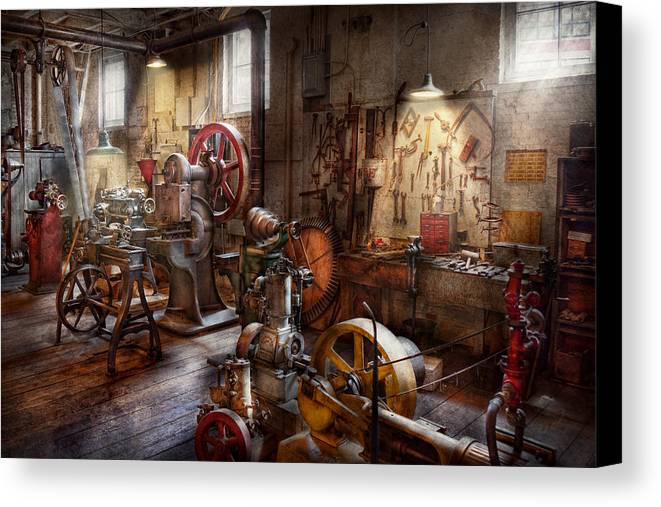 Machinist Canvas Print featuring the photograph Machinist - A Room Full Of Memories by Mike Savad