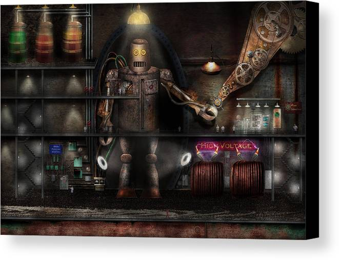 Robot Canvas Print featuring the photograph Mad Scientist - The Enforcer by Mike Savad