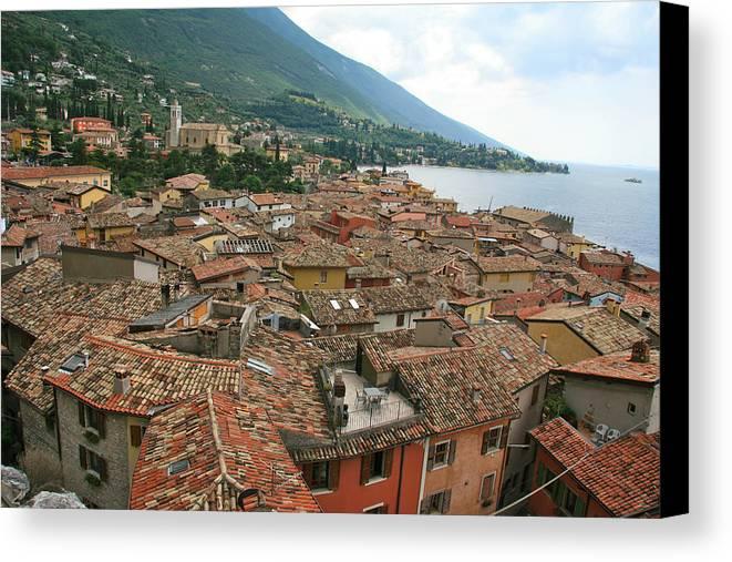 Lake Garda Canvas Print featuring the photograph Malcesine Lake Garda by David Miller