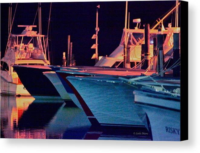Boats Canvas Print featuring the photograph Marina At Night by C R Moore
