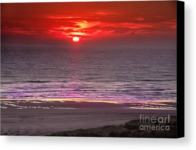 Sunset Canvas Print featuring the photograph Marine Sunset by Robert Bales