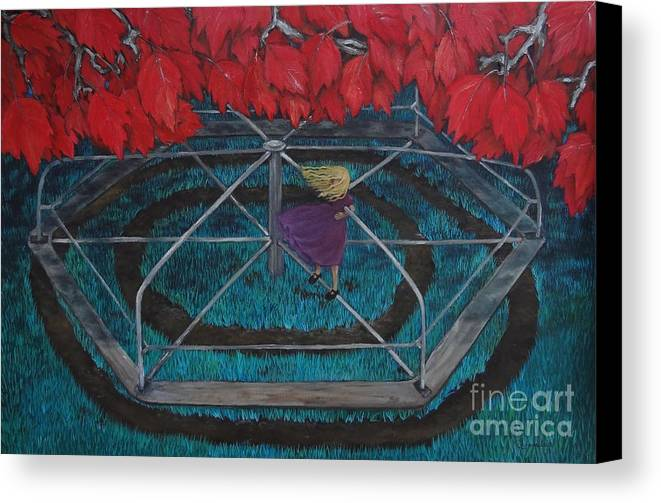 Merry Go Round Canvas Print featuring the painting Mary Go Round by Leandria Goodman