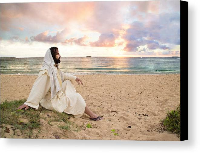 Seascape Canvas Print featuring the photograph Meditation Of Christ by Lois Colton