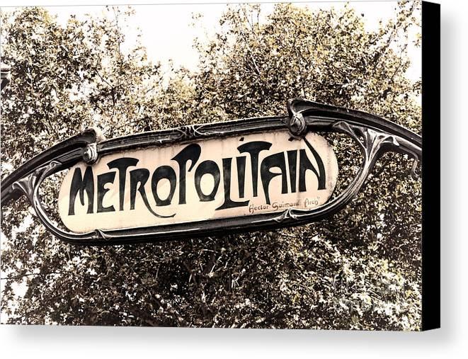 Paris Canvas Print featuring the photograph Metropolitain by Olivier Le Queinec