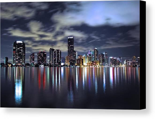 Miami Canvas Print featuring the photograph Miami Skyline by Gary Dean Mercer Clark