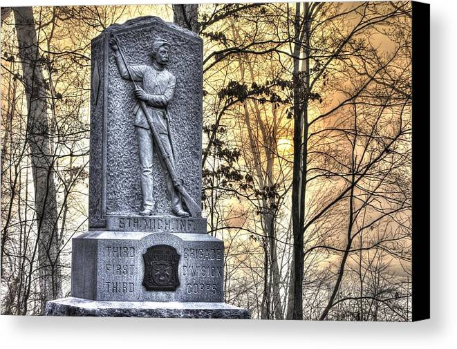 Civil War Canvas Print featuring the photograph Michigan At Gettysburg - 5th Michigan Infantry Sunrise And Morning Mist In The Rose Woods by Michael Mazaika