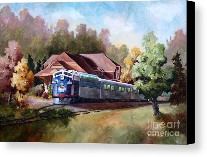 Train Fall train Painting Station Building Structure Minnesota train Station Oil Painting Original Canvas Print featuring the painting Minnesota Zephyr by Brenda Thour