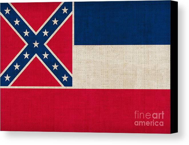 Mississippi Canvas Print featuring the painting Mississippi State Flag by Pixel Chimp