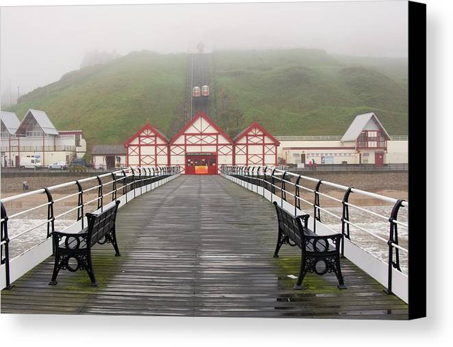 Photography Canvas Print featuring the photograph Misty View Of Victorian Pier Redcar by John Short