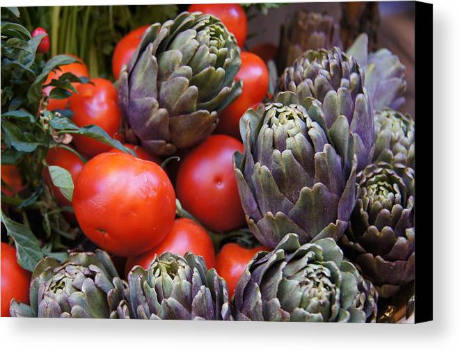 Tomatoes Canvas Print featuring the photograph Articholes And Tomatoes by Debi Demetrion